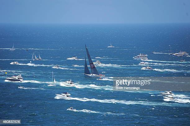 Wild Oats XI heads past Sydney Heads towards Hobart during the 2014 Sydney To Hobart on December 26 2014 in Sydney Australia