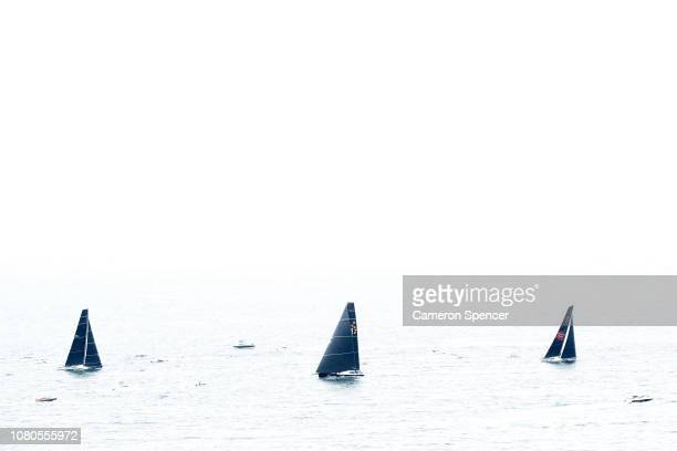 Wild Oats XI leads competitors during the SOLAS Big Boat Challenge on Sydney Harbour on December 11 2018 in Sydney Australia