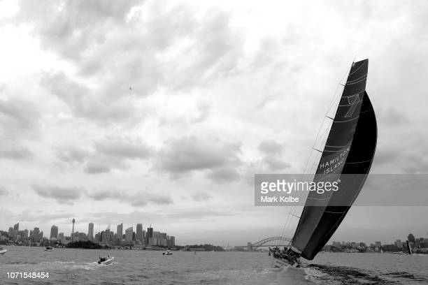 Wild Oats XI races during the SOLAS Big Boat Challenge on Sydney Harbour on December 11 2018 in Sydney Australia