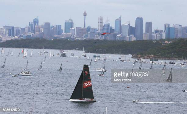 Wild Oats XI sails up Sydney Harbour after the start of the Sydney to Hobart Yacht Race during the 2017 Sydney to Hobart on December 26 2017 in...