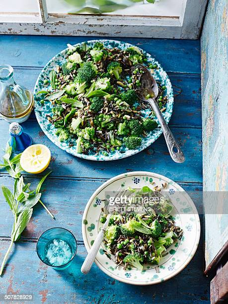 Wild rice, pea and broccoli salad