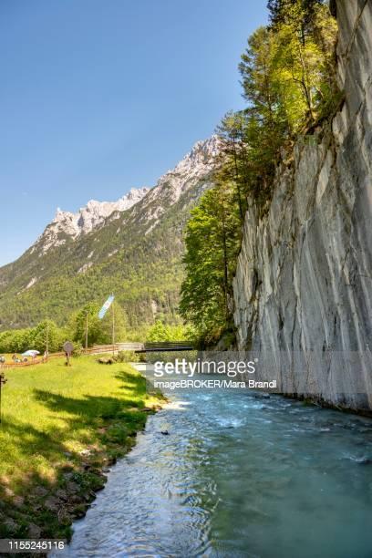 wild river leutasch in front of the leutasch gorge, near mittenwald, bavaria, germany - mittenwald fotografías e imágenes de stock