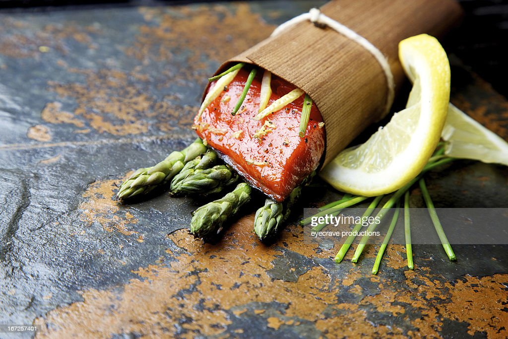 Wild Salmon fillet outdoor cedar wrap bbq grilled : Stock Photo
