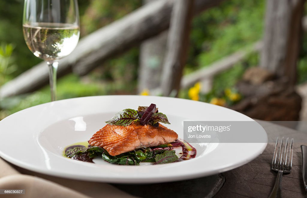Wild Salmon Fillet with greens : Stock Photo