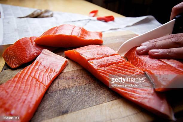 Wild Salmon raw fillet on cutting board