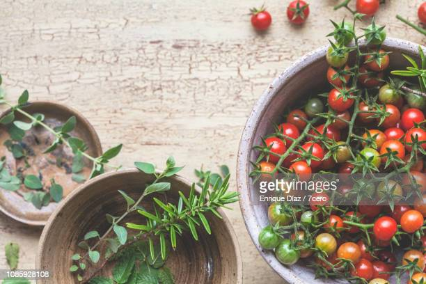 Wild Sown Cherry Tomatoes and Fresh Herbs