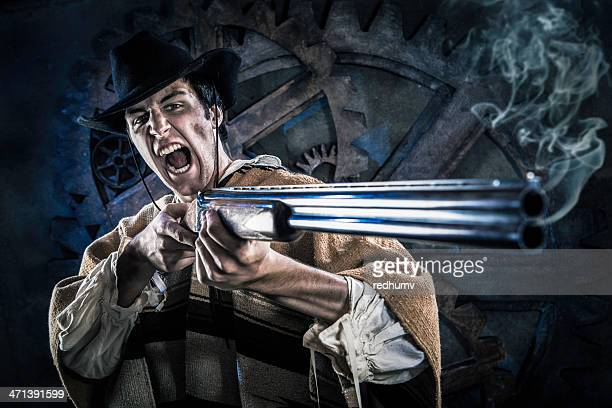 Wild Steampunk Cowboy with Smoking Shotgun