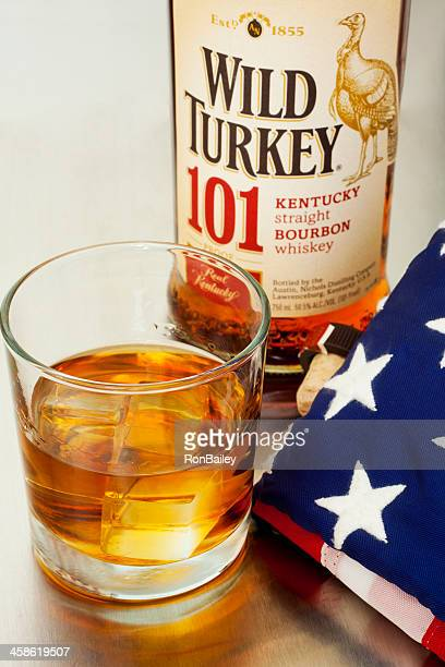 wild turkey 101 and flag - wild turkey stock photos and pictures