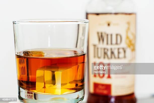 wild turkey 101 - wild turkey bourbon whiskey stock photos and pictures