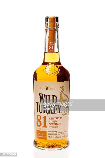 wild turkey bourbon whisky - wild turkey stock photos and pictures
