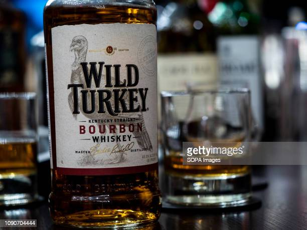 Wild Turkey Bourbon whisky seen at the Rooster Grill Bar counter in Kiev