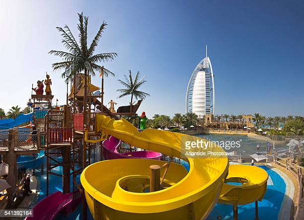 Wild Wadi Water Park with Burj al Arab Hotel in Background