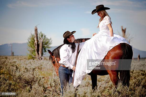 wild west bride - heather stock photos and pictures