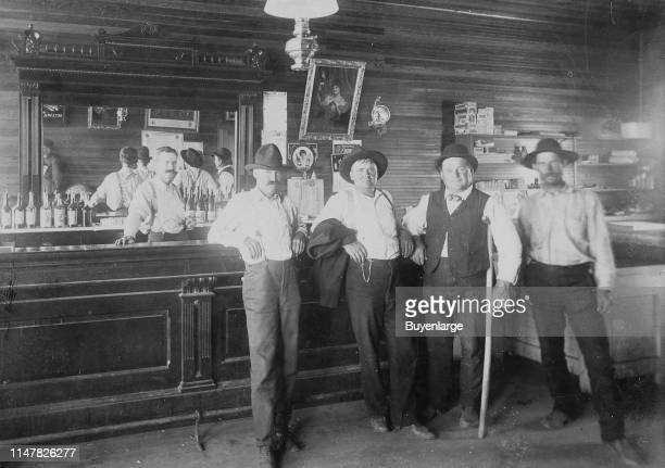 Wild West Saloon Great Signage Ca 1890S Great Saloon Photograph Of Unknown Western Town A Couple Of Wild West Cowboys With Two Townspeople And...