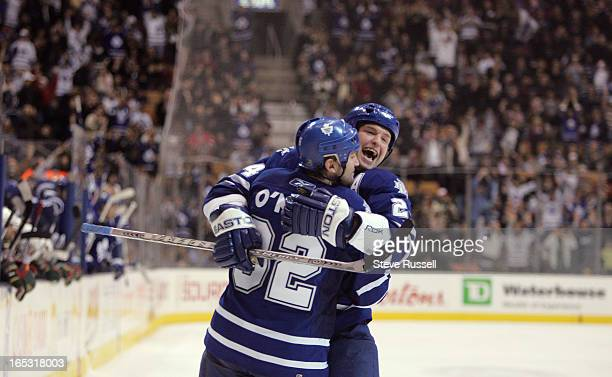 WILD12/26/06Jeff O'Neill is embraced by a jubulant Bryan McCabe after scoring the winning goal as the Toronto Maple Leafs beat the Minnesota Wild 43...