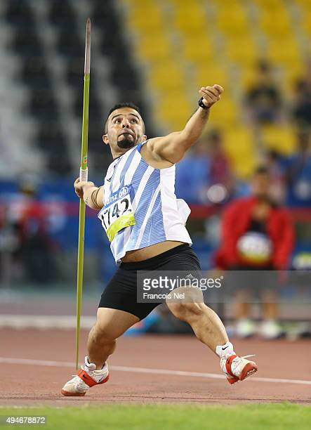 Wildan Nukhailawi of Iraq competes in the men's javelin F41 final during the Evening Session on Day Seven of the IPC Athletics World Championships at...