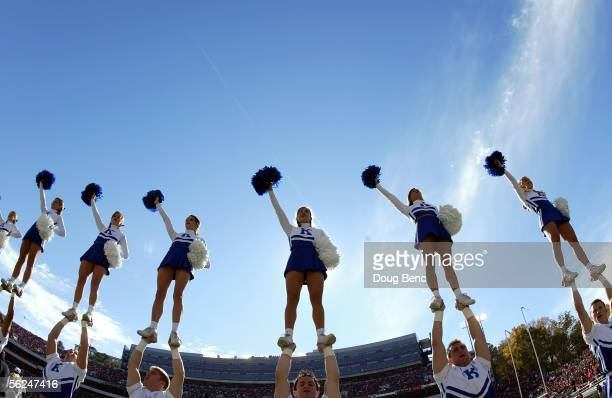 Wildcat cheerleaders perform in the second half as the Kentucky Wildcats were defeated by the Georgia Bulldogs at Sanford Stadium on November 19,...