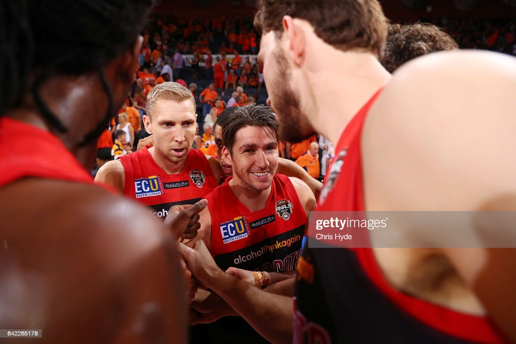 Wildcats celebrate winning the NBL Semi Final Game 1 match between Cairns Taipans and Perth Wildcats at Cairns Convention Centre on February 17, 2017 in Cairns, Australia.