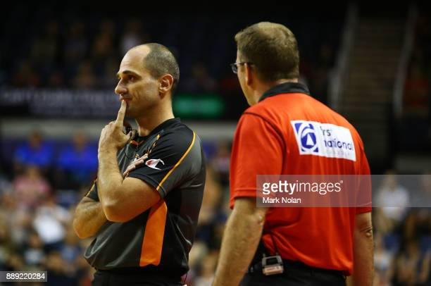 Wildcats coach Trevor Gleeson questions a decision during the round nine NBL match between the Illawarra Hawks and the Perth Wildcats at Wollongong...
