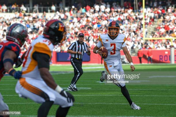 Wildcats quarterback Chad Kanoff is flushed from the pocket during the XFL football game between the Los Angeles Wildcats and Houston Roughnecks at...