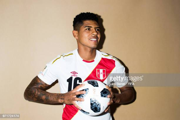 Wilder Cartagena of Peru poses for a portrait during the official FIFA World Cup 2018 portrait session on June 11 2018 in Moscow Russia