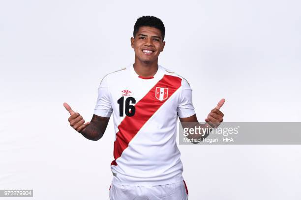 Wilder Cartagena of Peru poses for a portrait during the official FIFA World Cup 2018 portrait session at the Team Hotel on June 11 2018 in Moscow...