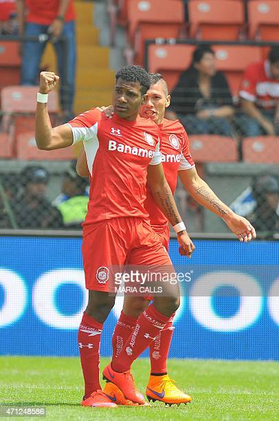 Wilder Guisao and his teammate Richard Ortiz of Toluca celebrate after scoring against Tijuana during their Mexican Clausura tournament football...