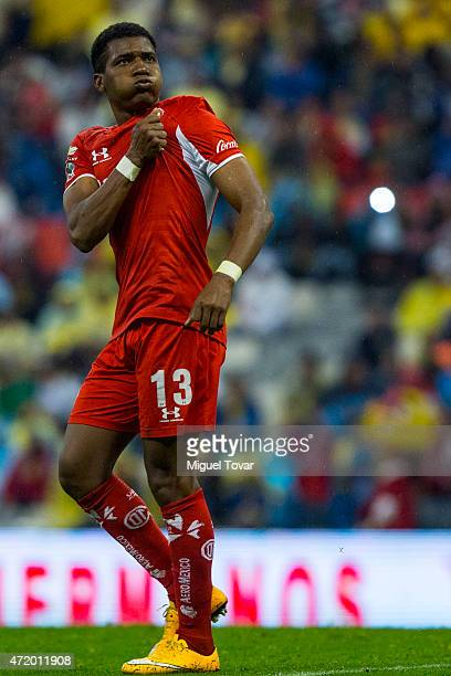 Wilder Guisao of Toluca celebrates after scoring the first goal of his team during a match between America and Toluca as part of 16th round of...