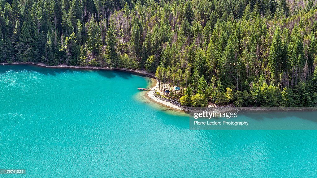 Wilderness camping on Diablo Lake, North cascades : Stock Photo
