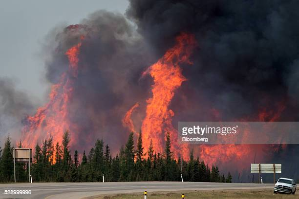 A wildfire burns behind abandoned vehicles on the Alberta Highway 63 near Fort McMurray Alberta Canada on Saturday May 7 2016 Wildfires ravaging the...