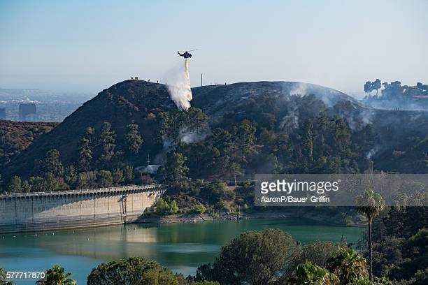 A wildfire burns in the Hollywood hills on July 19 2016 in Hollywood California