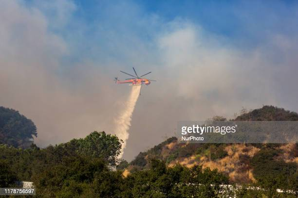 A wildfire burns near the prestigious Getty Museum located in the Sepulveda Pass in Los Angeles CA USA on October 28 2019
