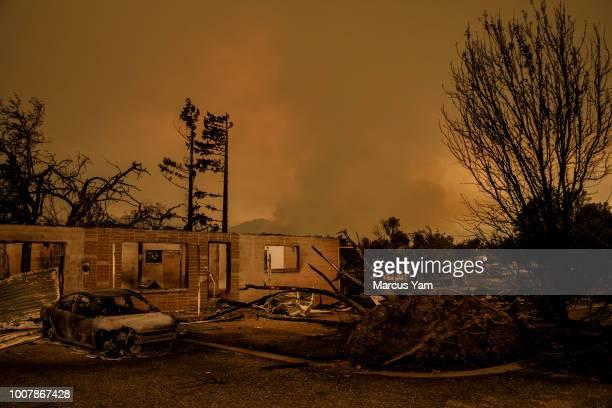 Wildfire destroy homes overnight in Lake Keswick Estates near Redding Calif on July 27 2018