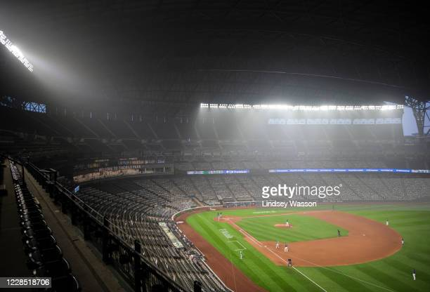 Wildfire smoke fills the air during the second game of a doubleheader between the Seattle Mariners and Oakland Athletics at T-Mobile Park on...
