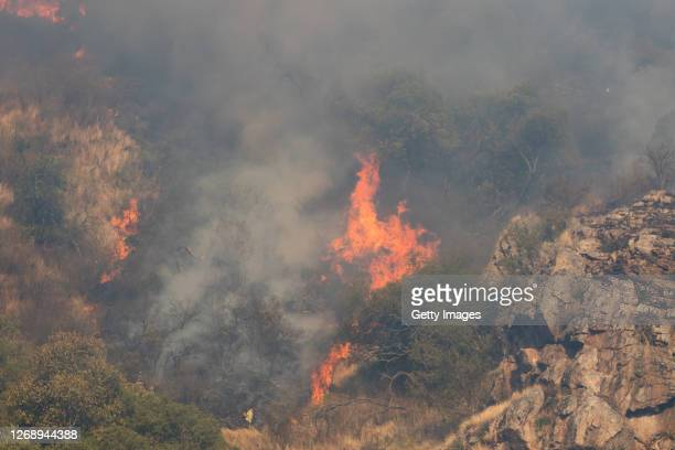 Wildfires in Casa Grande on August 26, 2020 in Cordoba, Argentina. Wildfires are raging Argentina's Cordoba province threatening to destroy homes and...