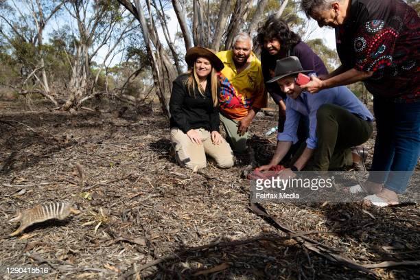 Wildlife Ecologist, Tali Moyle, NSW Environment Minister, Matt Kean, and Barkandji Traditional Owners, Warren Clark, Betty Pearce and Kathy Potter,...