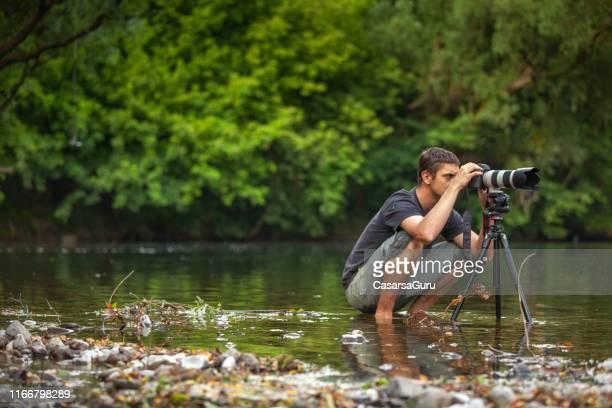 photographe de faune travaillant passionnément sur un emplacement avec patience - thème de la photographie photos et images de collection