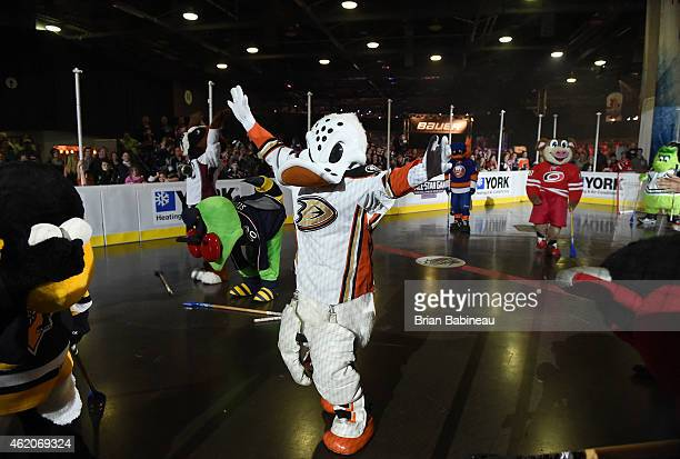Wildwing of the Anaheim Ducks acknowledges the fans during the mascot showdown as part of the 2015 NHL AllStar Weekend at York Rink on January 23...