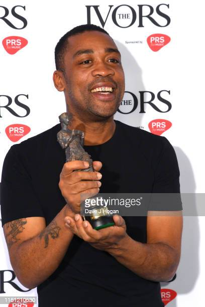 Wiley poses in the winners room after winning The Ivors Inspiration Award at The Ivors 2019 at The Ivors 2019 at Grosvenor House on May 23, 2019 in...