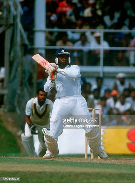Wilf Slack batting for England during the 2nd One Day International between West Indies and England at the Queen's Park Oval, Port of Spain,...