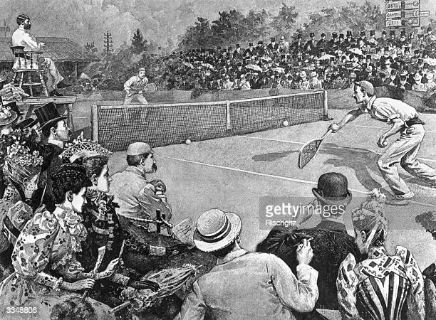Wilfred Baddeley and Joshua Pim in action during the men's final at Wimbledon