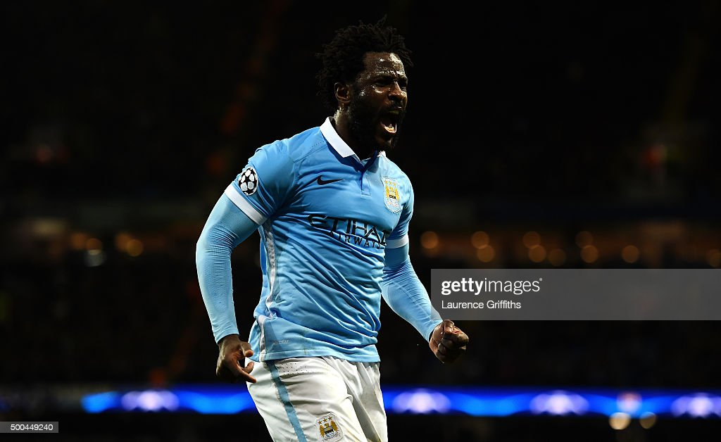 Wilfred Bony of Manchester City celebrates scoring his side's fourth goal during the UEFA Champions League Group D match between Manchester City and Borussia Monchengladbach at Etihad Stadium on December 8, 2015 in Manchester, United Kingdom.