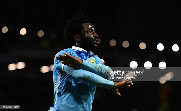 Wilfred Bony of Manchester City celebrates scoring his side's fourth goal during the UEFA Champions League Group D match between Manchester City and...
