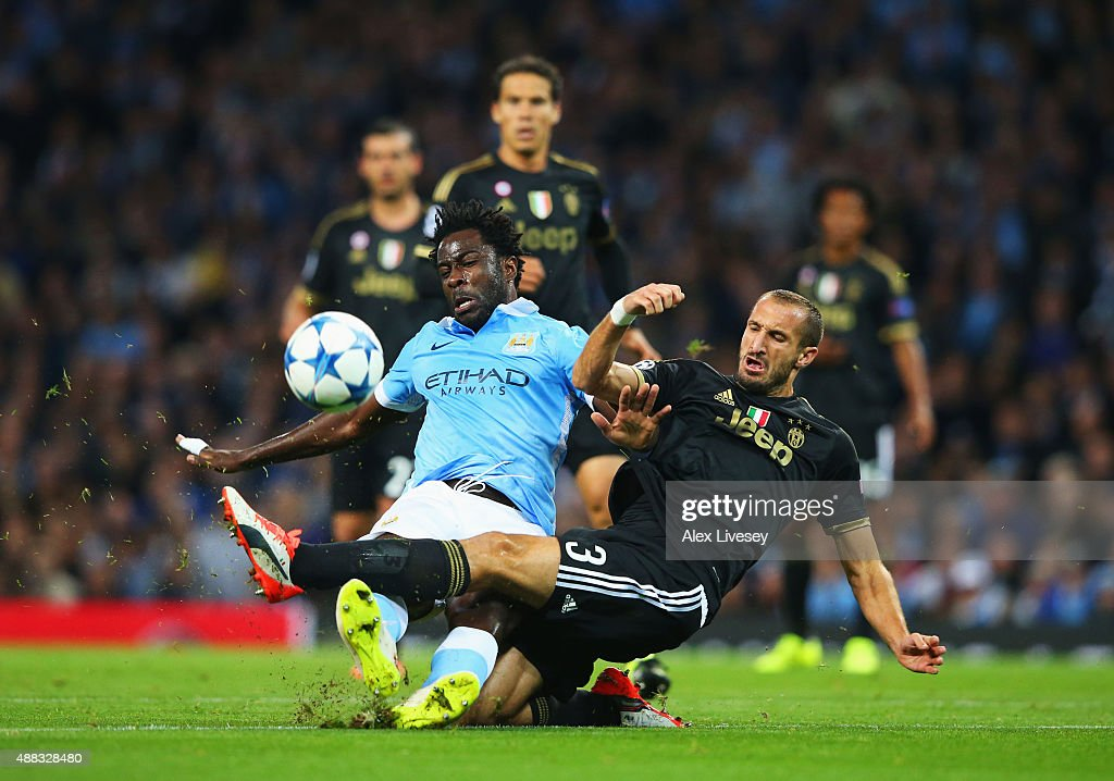 Wilfred Bony of Manchester City is tackled by Giorgio Chiellini of Juventus during the UEFA Champions League Group D match between Manchester City FC and Juventus at the Etihad Stadium on September 15, 2015 in Manchester, United Kingdom.