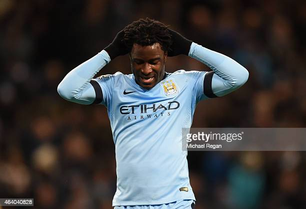 Wilfred Bony of Manchester City reacts to a missed chance during the Barclays Premier League match between Manchester City and Newcastle United at...