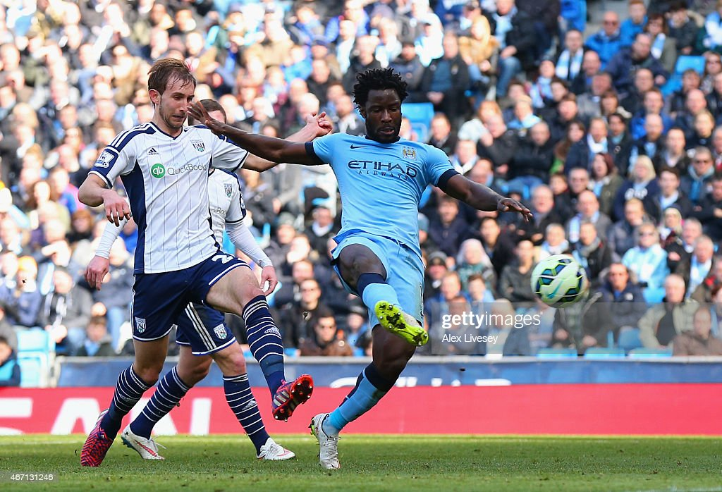 Wilfred Bony of Manchester City scores the opening goal during the Barclays Premier League match between Manchester City and West Bromwich Albion at Etihad Stadium on March 21, 2015 in Manchester, England.