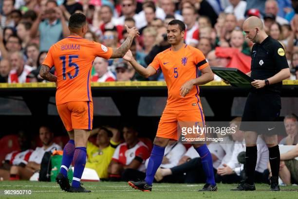 Wilfred Bouma, Giovanni van Bronckhorst during the Dirk Kuyt Testimonial at the Feyenoord Stadium on May 27, 2018 in Rotterdam Netherlands