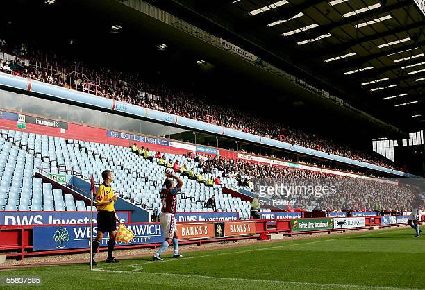 Wilfred Bouma of Aston Villa takes a throw in front of empty seats during the Barclays Premiership match between Aston Villa and Middlesbrough at...
