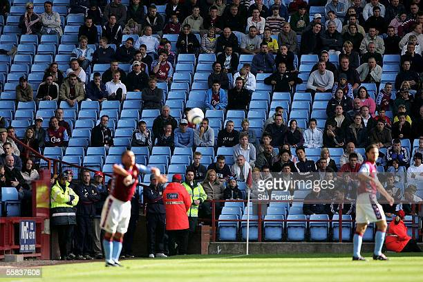 Wilfred Bouma of Aston Villa takes a throw in infront of empty seats during the Barclays Premiership match between Aston Villa and Middlesbrough at...