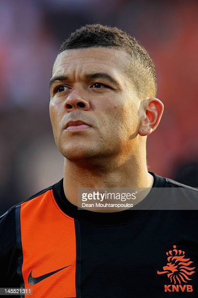 Wilfred Bouma of Netherlands stands for the national anthem prior to the International Friendly between the Netherlands and Slovakia at De Kuip...